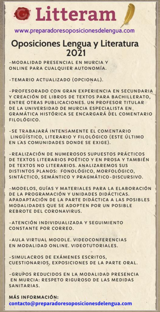 oposición de lengua y literatura preparadores LITTERA para Murcia y el resto de comunidades